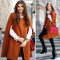Wholesale Stylish Lady Europe and America Women s Outwear Loose Batwing Poncho Cape Coat Shawl Parka Cloak Long Woolen Jacket SV028926