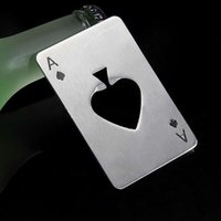 Wholesale Stainless steel Beer Cap Opener Playing Card Ace of Men s Gift Spades Poker Bar Tool Bottle Soda