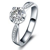 designer inspired jewelry - Designer Inspired Jewelry Real Solid K White Gold Moissanite Women Engagement Ring Certified CT VVS H