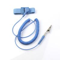 Wholesale NEW Anti Static Antistatic ESD Adjustable Wrist Strap Band Grounding electrostatic belt Blue