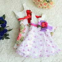 baby flower dress - Girl Dress New Summer Baby Children Elegant Sleeveless Bowknot Flower Pattern Organza Princess Party Dress Kids Clothes SV014354