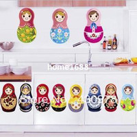 Murals pvc door - QZ313 Cartoon Russian Matryoshka Doll Fridge Door Chest Stickers Removable PVC Stickers Home Decoration Gift
