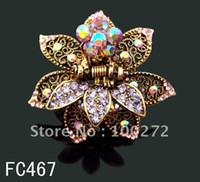 Wholesale hot sell zinc alloy rhinestone fashion flowers hair claw hair accessories Mixed colors FC467