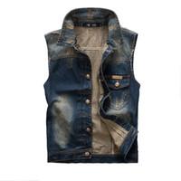 asian vest - Fall New Fashion Mens Denim Vest Vintage Sleeveless Washed jeans waistcoat Man Cowboy Ripped Jacket Asian Size Tank Top EDA178