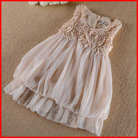 TuTu party dresses for baby - free ship summer new Baby girls rose flower tutu dress skirts girls dance lace party dress girls sleeveless vest dress pc for T