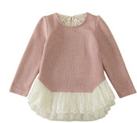 Wholesale 2015 Kid Girls Knitting Lace Party Dresses Princess Candy Color Casual Fall Winter sweater Dresses