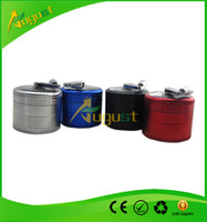 Wholesale aluminum sawtooth grinder with handle rolling pollen hand cranking Tobacco Grinder tobaccoGrinders layer smoking metal pipe