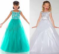 green white jade - 2015 Pretty Pageant Dresses For Girls Strapless Off The Shoulder Sequins Crystal Tulle Hunter Jade White Princess Flower Girls Dresses