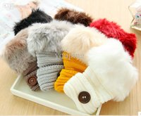 Wholesale Fashion Cute Faux Rabbit Fur Hand Winter Warmer Knitted Fingerless Gloves Mitten colors