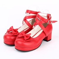 lolita shoes - 2015 Lolita Shoes Red Cute Maid Shoes Bow Ribbon Princess Shoes Code