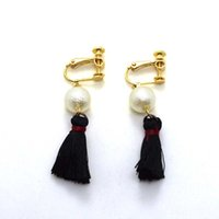 Wholesale High Quality Vintage Clip Earrings Pearl Black Tassels Retro Style Ear Cuff For Women pairs Fashion Jewelry Accessories