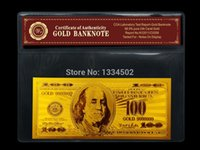 Wholesale USD dollars bill k Gold Banknote with COA Folder Accept Mixed