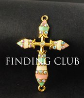 ab cross pendant - Gold Plated AB Rhinestone Pastel Multicolor Enamel Sideways Cross Charm Pendant Connector x33mm RS491
