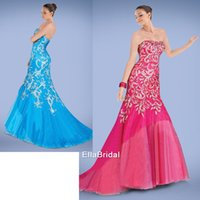 Cheap Delicate Beaded Trumpet Mermaid Watermelon red Aqua Tulle Prom Dresses Strapless Sleeveless Custom Made Formal Gowns Prom Dresses 319139