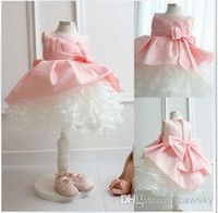 ad beautiful - 2015 New Beautiful Ball Gown Crew Neck Sleeveless Organza Lotus Leaf Bow knot Flower Girls Dresses Birthday Party Gift AD