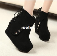 Cheap 2014 new Korean fashion high heel women boots hot sell naked wedge heel Women's shoes solid short knee boots free shipping XZ09
