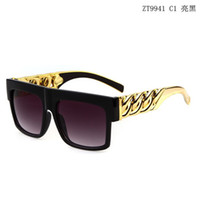 retro style sunglasses - 2016 Vintage Gold Chain Sunglasses For Men Women Retro Gafas Oculos de sol Beyonce Oversize Style Flat Top sun glasses With Retail Box Case
