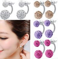 Wholesale Double Side Earring Fashion Jewelry Shamballa Stud Earrings Crystal Ball Women Double stud Earrings Top Quality mm mm