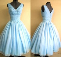 Wholesale Cheap Vintage Sky Blue Chiffon Bridal Evening Party Dresses Princess Knee Length Cocktail Prom Bridesmaid Gowns Real Image Christmas
