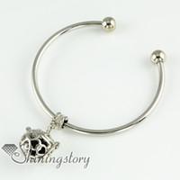 Wholesale four clover openwork oil diffuser jewelry essential oil bracelet natural lava stone beads bracelets