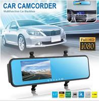 2 channel dvr - 4 inch Dual Lens Rearview Mirror HD P Car DVR camera lens Rearview Blue Mirror H432 Parking senser Backup Camera car