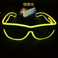 Wholesale Fashion EL Led glasses as Wedding Christmas Holiday Rave Costume Party Gift Bule Green Yellow Pink Red Purple Light TOP1274
