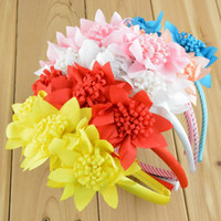 Wholesale Mix colors new arrival children s jewelry high elastic handmade flower children hair hoop baby girl hairbands