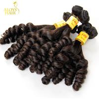 al por mayor extensiones de cabello malasio uk-La armadura malasia del pelo humano de la Virgen sin procesar del pelo de Funi del grado 8A de la porción 3PCS agrupa el pelo helado del resorte enrolla extensiones BRITÁNICAS del pelo