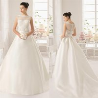 baking training - Custom Made Ball Gown Lace Wedding Dresses With Bateau Neckline Sleeveless Covered Button Bake Sweep Train Satin Bridal Gowns