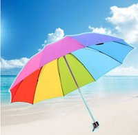 beach umbrella large - large beach umbrella rainbow short hanlde three folding creative beautiful lady rainy umbrella high quality