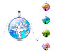vintage jewelry - Assorted Vintage Gemstone Life Tree Pendant Necklace Glass Cabochon Pendant Silver Plated Art Picture Chain Necklace Mysterious jewelry Gift