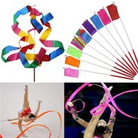Wholesale New M Gymnastics Colored Ribbon Gym Rhythmic Art Ballet Dance Ribbon Streamer Twirling Rod Stick Multi Colors