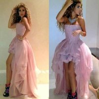 high low prom dresses - High Low Prom Dresses Strapless Pink Tiered Zipper Formal Dresses Party Evening Gowns Myriam Fares Celebrity Formal Party Gowns