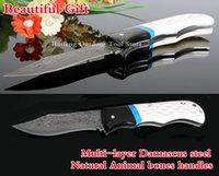 Wholesale New Japan Damascus steel Handmade folding knife natural black horn turquoise handle folding hunting survival knife faca militar