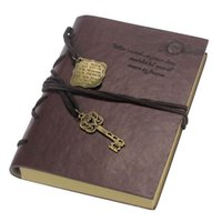 Wholesale 2015 Newest Vintage Magic Key String Retro Leather Note Book Diary Notebook Leaf Leather Cover Blank Notebook Journal Diary