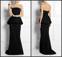 Cheap 2015 Peplum Lace Sheath Prom Gown Sweep Train Strapless Party Cocktail Dresses