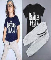 beatles style suits - 5sets casual sports style kids clothes The Beatles printed boys clothing sets children short sleeve T shirts pants suits HX