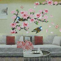 art cherry blossoms - 3D New Cherry Peach Blossom Flower Branch Butterfly Removable PVC Art Wall Sticker Wall Decor Decals DIY