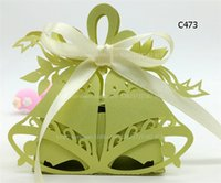 bell housing - 32 Colors Christmas Candy Gift Boxes Laser Cut Paper Snowflake Xmas Tree Hanging Decoration Sweet House Jingle Bell Chocolate Case WE407
