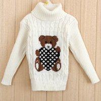 bear knitting pattern sweater - new autumn and winter children s sweaters girls turtleneck warm Knit sweater kids casual Bear Pattern High quality