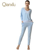 Wholesale 2015 hot sale spring nightdress sleepwear pajama set for women batwing sleeve long sleeve stripe modal loungewear