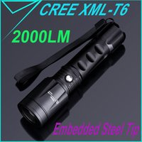 broken glass - Zoomable LM CREE XML T6 Flashlight Rechargeable Modes Lamp AAA Adjustable Focus Torch Emergency Glass Break Hammer H14804