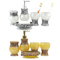bathroom suite designs - Classic Amber Design Royal Golden Silver Bath Accessory Set Bathroom Suite Soap Dish Toothbrush Paste Holder Resin DIY Art order lt no