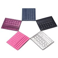 bc business - 2015 New Fashion Knitting Pattern Women Men Sheepskin Genuine Leather Bank Business Credit Card ID Holders Bag BC