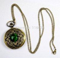 achat en gros de pierre oeil vert-NOUVEAU Big Vintage Emerald pierre montre de poche Vert Collier femme Bijoux gothique mode rétro Dropshipping Elf Eye