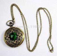 al por mayor elfos de la vendimia-NUEVO reloj de bolsillo de piedra esmeralda grande de la vendimia del collar del verde de la mujer de la joyería Gótico de la manera retro Dropshipping Ojo del duende