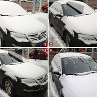 Wholesale Grey Magnetic Car Wind Screen Cover Knitted Cotton Frost Ice Shield Snow Dust Sun Shade Protection pc Fan