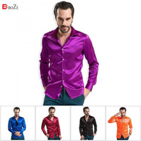 Wholesale Famous Brand Men Shirts High grade Silk Mens Long Sleeved Male Fashion Casual Silky Plus XXXXL Size Men Shirt
