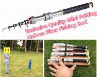 Fibre de carbone de haute résistance Mini pêle télescopique télescopique pôle de pêche de poche 1.5 / 1.8 / 2.1 / 2.4m pour la pêche du courant de roche de bateau de mer