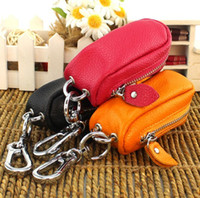 Wholesale Unisex Genuine Leather Car Key Case Tag Chain Holder Cover with Zipper Closure Leather Car Key Holder Case Bag